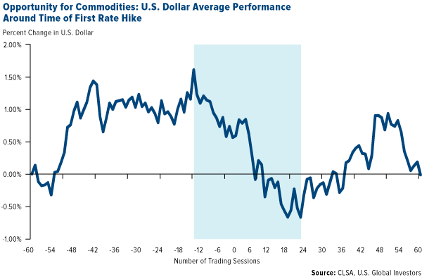 Opportunity for Commodities: U.S. Dollar Average Performance Around Time of First Rate Hike
