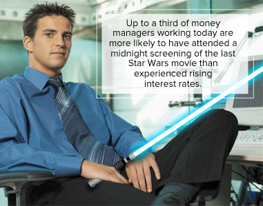 Up to a third of money managers working today are more likely to have attended a midnight screening of the last Star Wars movie than experienced rising interest rates.
