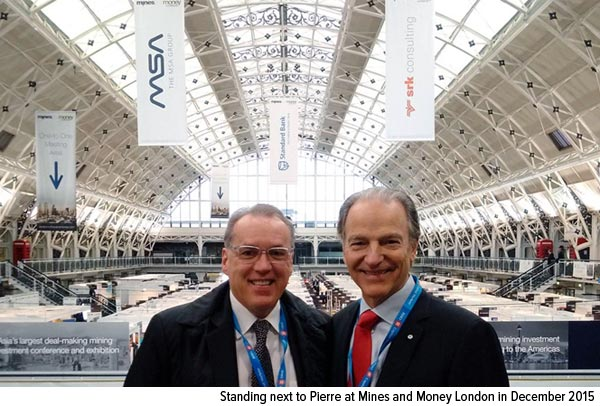 Standing next to Pierre at Mines and Money London in December 2015