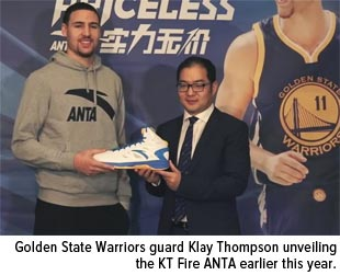 Golden State Warriors guard Klay Thompson unveiling the KT Fire ANTA EARLIER THIS YEAR