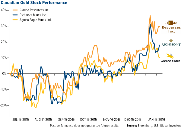 Canadian Gold Stock Performance