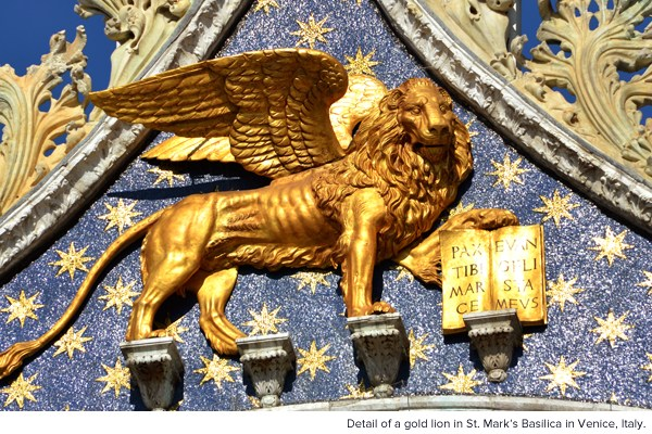 Detail of a gold lion in St. Mark's Basilica in Venice, Italy