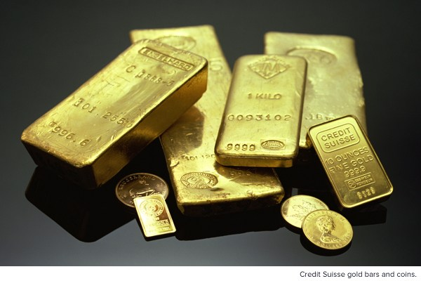 Credit Suisse gold bars and coins