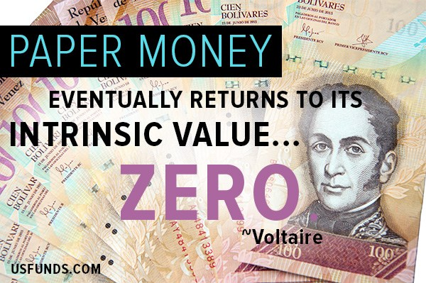 Paper Money eventually returns to its intrinsic value zero
